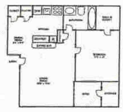 555 sq. ft. A1 floor plan