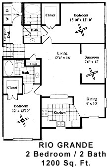 1,200 sq. ft. RIO GRANDE floor plan