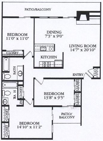 1,214 sq. ft. C2 floor plan