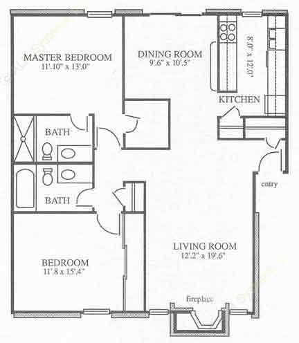 1,039 sq. ft. B1 floor plan