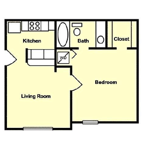 530 sq. ft. A3 floor plan