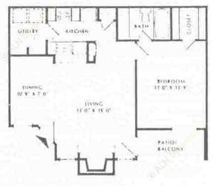 700 sq. ft. B floor plan