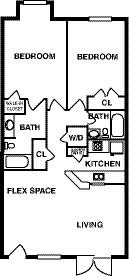 946 sq. ft. floor plan