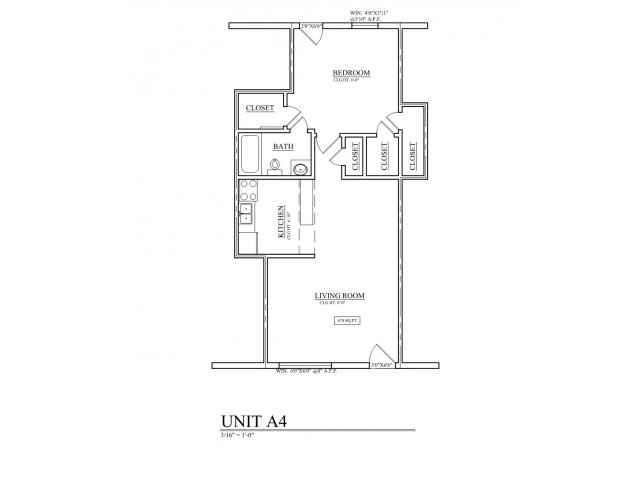 511 sq. ft. A4 floor plan