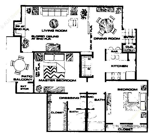 1,076 sq. ft. B2 floor plan
