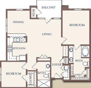 1,187 sq. ft. floor plan