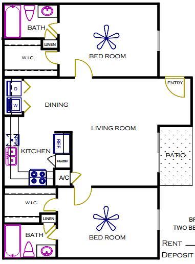 980 sq. ft. BRAZOS floor plan