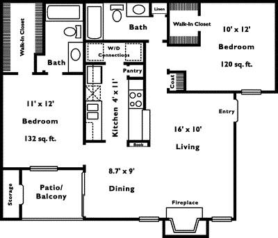 960 sq. ft. 2C floor plan