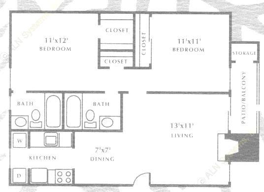 800 sq. ft. B2 floor plan