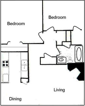 755 sq. ft. B1 floor plan