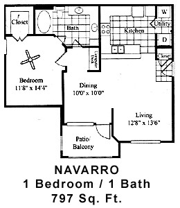 797 sq. ft. NAVARRO floor plan