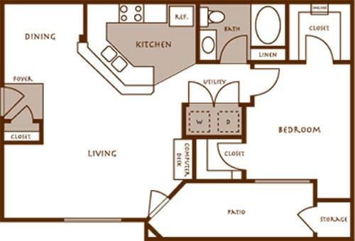 750 sq. ft. ACACIA floor plan