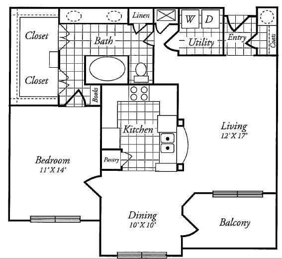 924 sq. ft. B floor plan