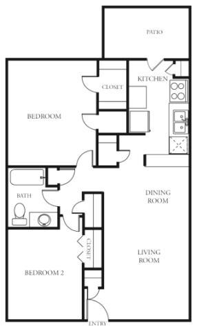 936 sq. ft. floor plan