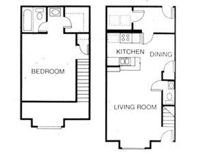 691 sq. ft. A7 floor plan