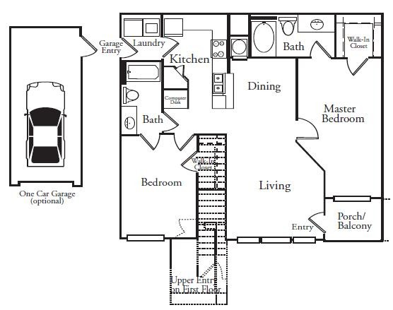 1,073 sq. ft. ATLANTIS floor plan