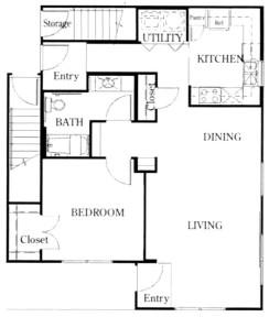928 sq. ft. A3/50 floor plan