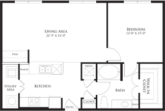 864 sq. ft. 6A6 floor plan