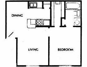 612 sq. ft. B floor plan