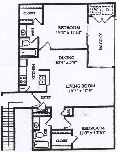 905 sq. ft. BWD floor plan