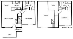 1,010 sq. ft. C floor plan