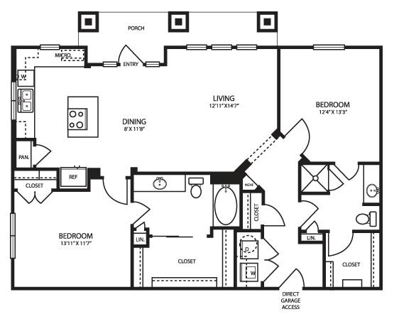 1,199 sq. ft. B2G Alt floor plan