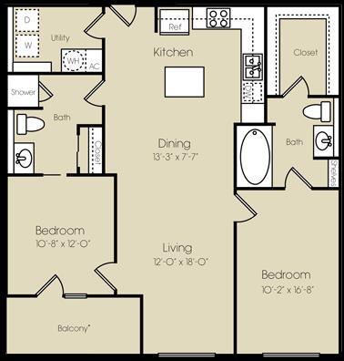 1,135 sq. ft. Battery Park floor plan