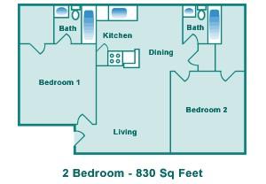 830 sq. ft. C floor plan