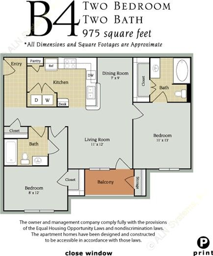 975 sq. ft. B4/60% floor plan