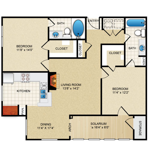 1,176 sq. ft. MAG.SOL floor plan