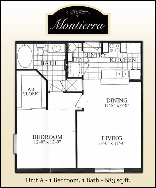 683 sq. ft. A floor plan