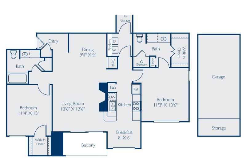 1,276 sq. ft. LBJ w/Garage floor plan