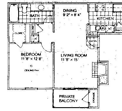 600 sq. ft. A1/60% floor plan