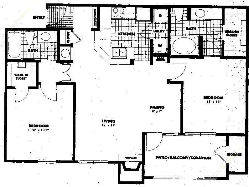 1,045 sq. ft. to 1,177 sq. ft. B1 floor plan