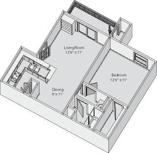 545 sq. ft. CARLTON floor plan