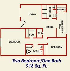 918 sq. ft. floor plan