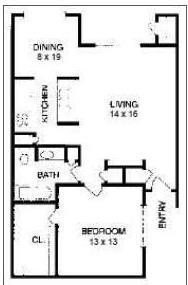 696 sq. ft. A4 floor plan