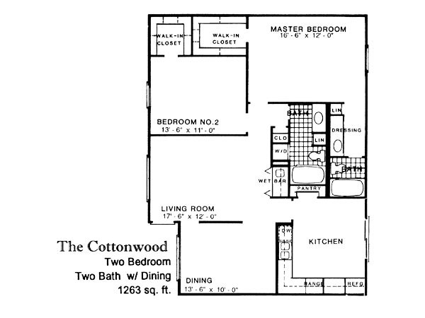 1,263 sq. ft. COTTONWO floor plan