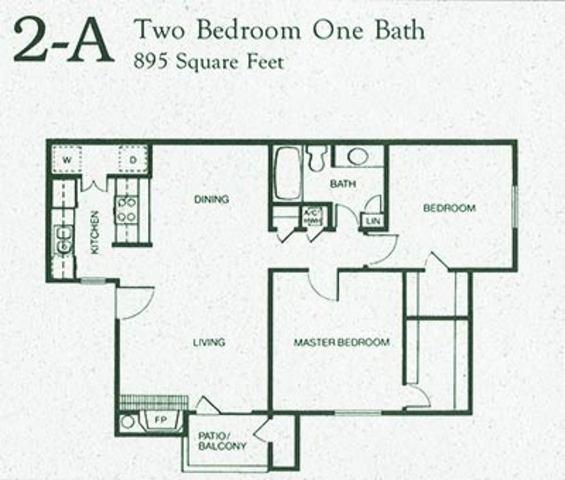 895 sq. ft. 2A floor plan