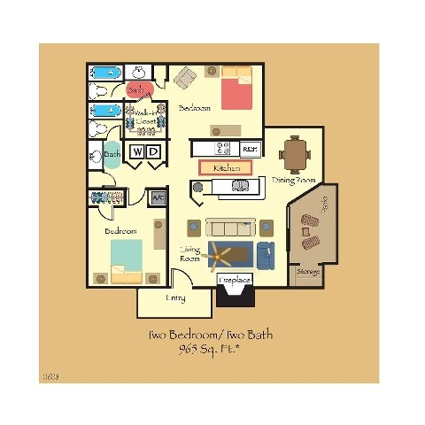965 sq. ft. B8 floor plan