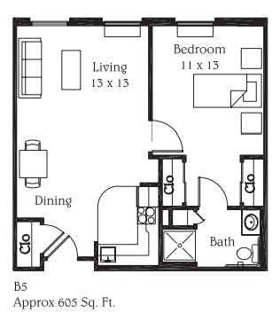 605 sq. ft. B5 floor plan