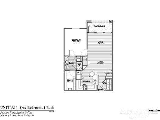 705 sq. ft. A1 60 floor plan