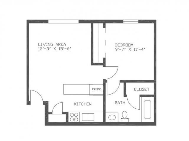 515 sq. ft. SN2 floor plan