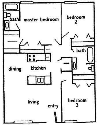 1,013 sq. ft. C1 floor plan