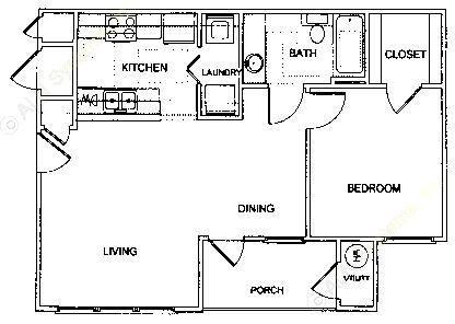685 sq. ft. A1 3/60 floor plan