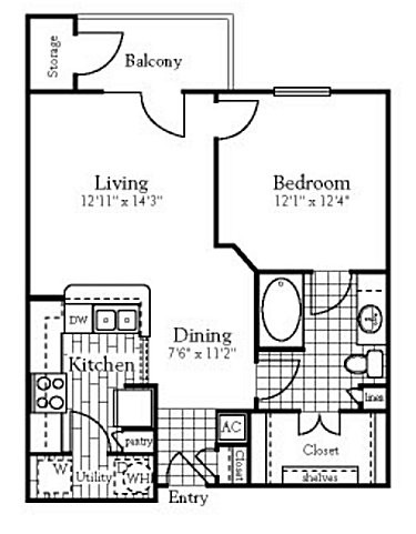 697 sq. ft. A1 floor plan