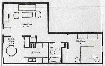 739 sq. ft. A3 floor plan