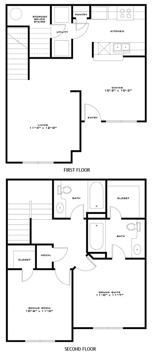 1,027 sq. ft. BONHAM/60 floor plan