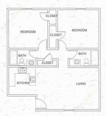 907 sq. ft. B2 floor plan