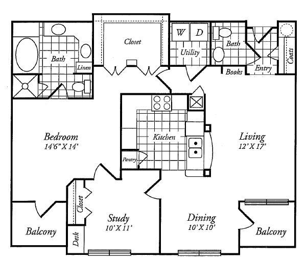 1,113 sq. ft. C floor plan